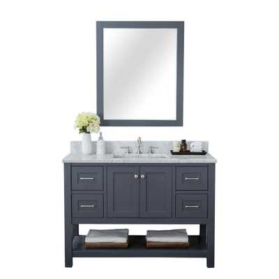 Alya Bath Wilmington 48 in. W x 34.2 in. H x 22 in. D Bath Vanity in Gray with Marble Vanity Top in White with White Basin - Home Depot
