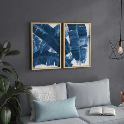 'Blue Banana Leaves' Diptych Watercolor Painting Print - AllModern