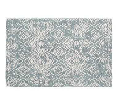 Zahara Synthetic Rug, Blue, 2.5 x 9' - Pottery Barn