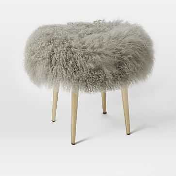 Mongolian Stool, Platinum - West Elm