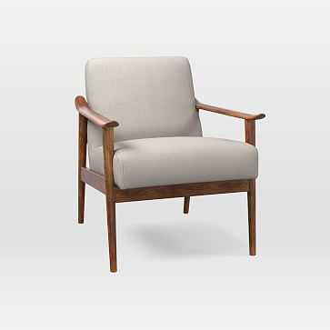 Mid-Century Show Wood Chair, Yarn Dyed Linen Weave, Stone White, Pecan - West Elm