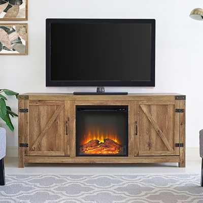 58 in. Rustic Electric Fireplace TV Console in Barnwood Entertainment Center - Home Depot