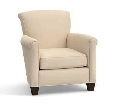 Irving Upholstered Armchair, Polyester Wrapped Cushions, Performance Everydayvelvet(TM) Buckwheat - Pottery Barn