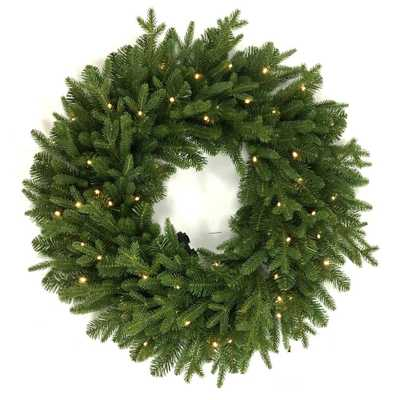 Norway 32 in. Battery Operated LED Artificial Christmas Wreath with 50-Lights - Home Depot