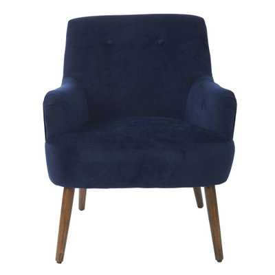Chatou Blue Chair in Midnight Fabric with Cordovan Legs, Blue Polyester - Home Depot