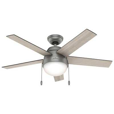 Hunter Anslee 46 in. Indoor Matte Silver Ceiling Fan with Light - Home Depot