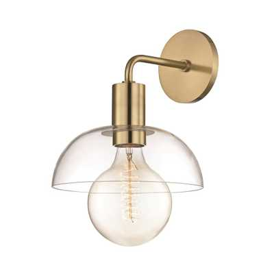 Mitzi by Hudson Valley Lighting Kyla 1-Light Aged Brass Wall Sconce with Clear Glass - Home Depot