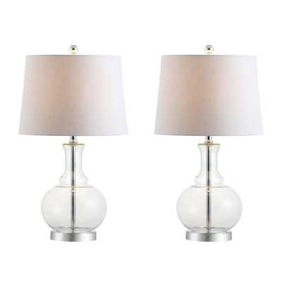 JONATHAN Y Lavelle 25 in. Clear/Chrome Glass Table Lamp (Set of 2) - Home Depot