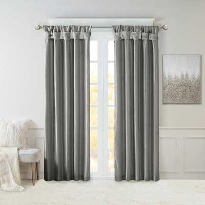 Madison Park Natalie Charcoal Faux Fur Room Darkening Twist Tab Lined Window Curtain 50 in. W x 84 in. L, Grey - Home Depot