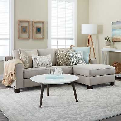 Sectional Sofa with Chaise in Light Grey - eBay