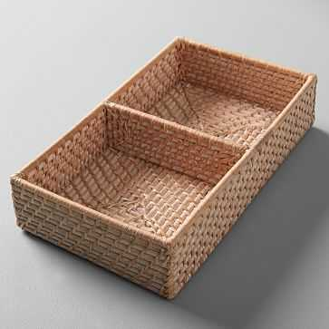Modern Weave Basket w/ Divider, Whitewashed - West Elm