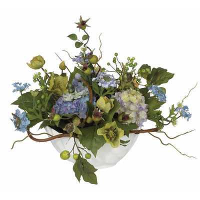 Hydrangea Centerpiece Silk Flower Arrangement - Home Depot