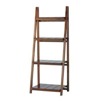 Nolan Warm Brown Folding Ladder Bookcase - 4 Shelf - Home Depot