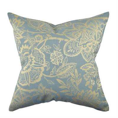Light Blue Damask Flocked Throw Pillow, Blues - Home Depot