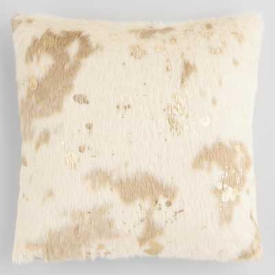 Gold Splatter Print Faux Cowhide Throw Pillow by World Market - World Market/Cost Plus