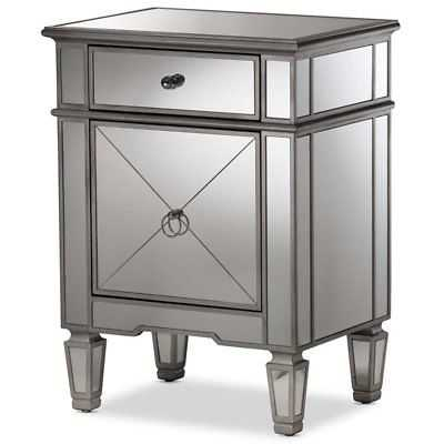 Hawthorne Collection Mirrored Nightstand in Silver - eBay