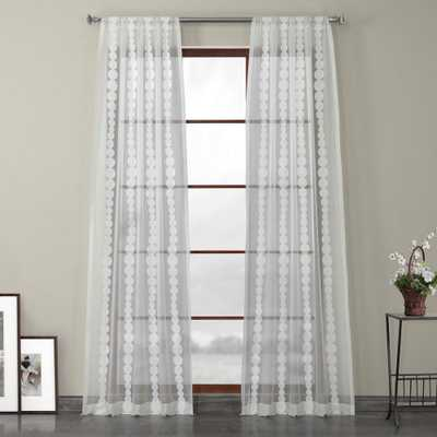 Exclusive Fabrics & Furnishings Cleopatra Cream White Embroidered Sheer Curtain - 50 in. W x 96 in. L - Home Depot