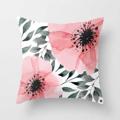 """Big Watercolor Flowers Throw Pillow - Indoor Cover (16"""" x 16"""") with pillow insert by Mmartabc - Society6"""