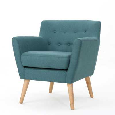 Noble House Meena Mid-Century Modern Button Back Dark Teal Fabric Club Chair, Dark Teal/Natural - Home Depot