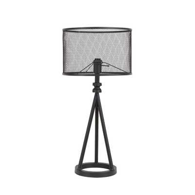 Silverwood 29.25 in. Woodruff Industrial Tripod Black Table Lamp with Metal Mesh Shade - Home Depot