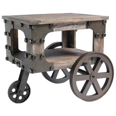 Vintiquewise Rustic Industrial Style Wagon Small End Table with Storage Shelf and Wheels - Home Depot