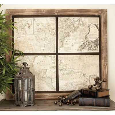 43 in. x 49 in. Rustic Chinese Fir Wood World Map Wall Decor, Brown/Tan - Home Depot