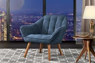 Accent Chair for Living Room, Linen Arm Chair Tufted Detailing, Wooden Legs Blue - eBay