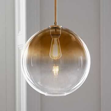 Sculptural Glass Pendant Canopy Plug In Pendant Brushed Brass Damp Large Globe Gold Ombre - West Elm
