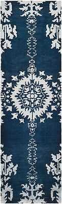 "Bungalow Rose Moulouya Hand-Knotted Indigo Area Rug: Runner 2'6"" x 8' - eBay"