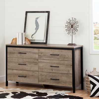 Munich 6-Drawer Weathered Oak Dresser - Home Depot