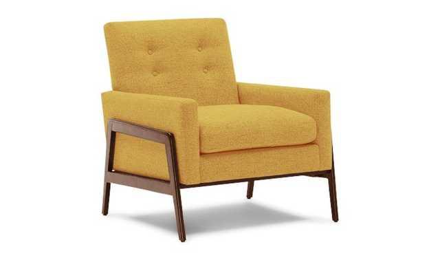 Yellow Clyde Mid Century Modern Chair - Taylor Golden - Mocha - Joybird