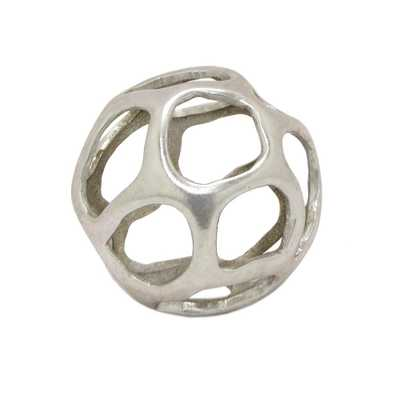 THREE HANDS 5 in. Silver Orb Tabletop Decoration - Home Depot