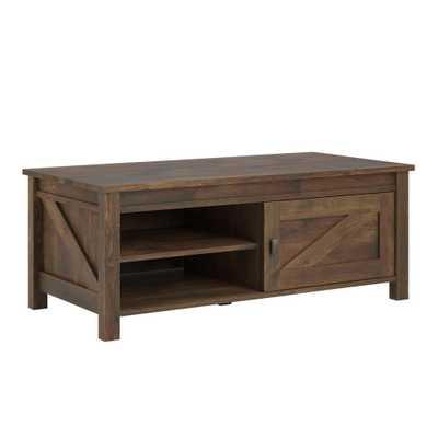 Brownwood Barn Pine Storage Coffee Table, Weathered Medium Brown - Home Depot