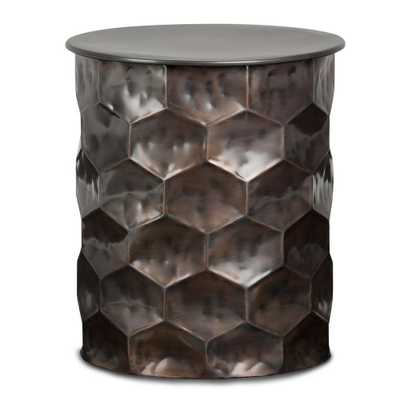 Whitney Antique Bronze Metal Storage Side Table - Home Depot