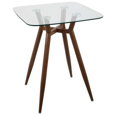 Clara Walnut Metal and Clear Glass Square Counter Height Dining Table, Brown/Clear - Home Depot