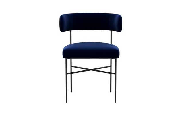 Audrey Dining Chair with Oxford Blue Fabric and Matte Black legs - Interior Define
