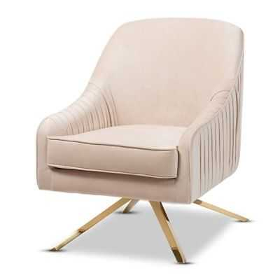 Baxton Studio Amaya Light Beige Velvet Gold Finished Base Lounge Chair - eBay