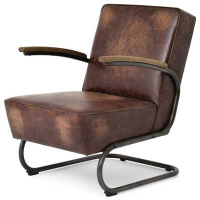 Peterman Industrial Loft Black Iron Brown Leather Armchair - Kathy Kuo Home