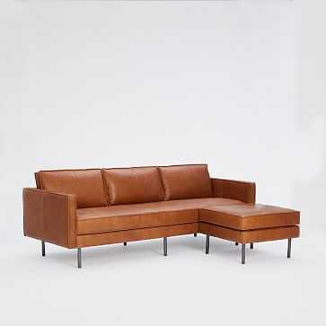 """Axel 89"""" Flip Sectional, Poly, Aspen Leather, Saddle, Metal - West Elm"""