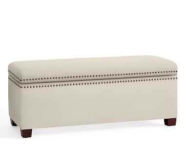 Tamsen Upholstered Storage Bench, Performance Twill Cream - Pottery Barn