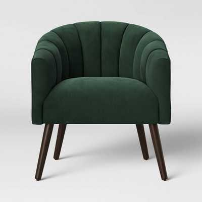Gwynne Modern Barrel Chair with Channel Seams Velvet Forest Green - Project 62 - Target