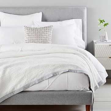 Organic Matelasse Border Blanket, Full/Queen, Stone White - West Elm