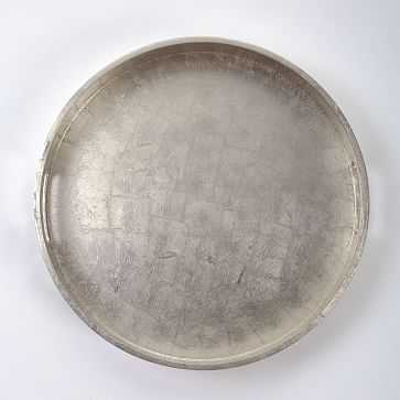 "Wood + Lacquer Round Tray, 18"", Silver - West Elm"