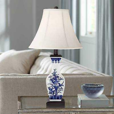 Asian Table Lamp Ceramic Blue Floral Vase White for Living Room Bedroom - eBay