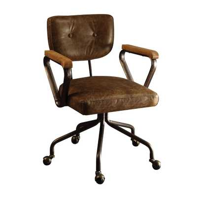 Hallie Vintage Whiskey Top Grain Leather Office Chair - Home Depot