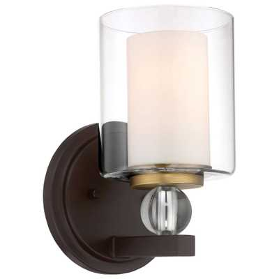Minka Lavery Studio 5 Collection 1-Light Painted Bronze with Natural Brushed Brass Bath Light - Home Depot