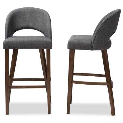 Melrose 30 in. Dark Gray Bar Stool (Set of 2) - Home Depot