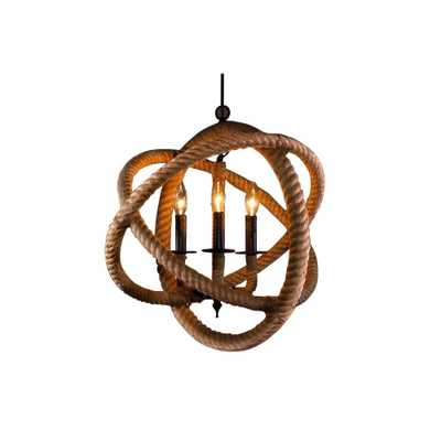Warehouse of Tiffany Edison Natalia Collection 3-Light Natural Rope Enclosed Indoor Chandelier - Home Depot