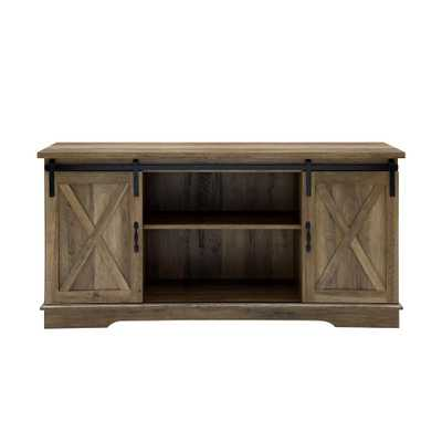 58 in. Rustic Oak Sliding Barn Door Console - Home Depot