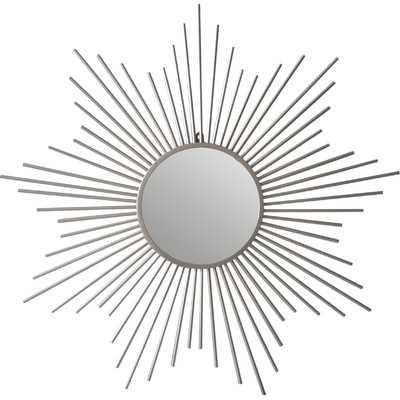 Sunburst Silver Metal Accent Wall Mirror - Wayfair